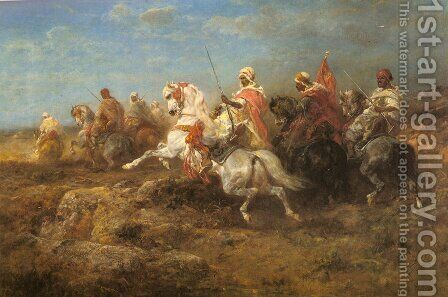 Arabian Patrol by Adolf Schreyer - Reproduction Oil Painting