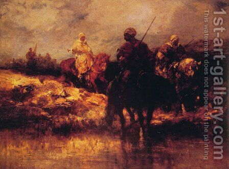 Arabs on Horseback by Adolf Schreyer - Reproduction Oil Painting