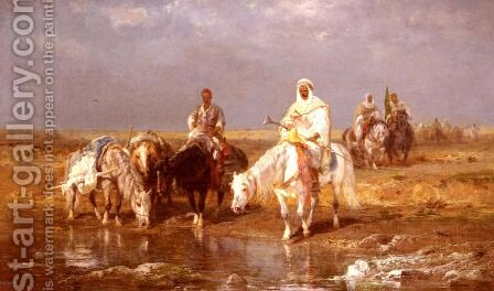 Arabs Watering Their Horses by Adolf Schreyer - Reproduction Oil Painting