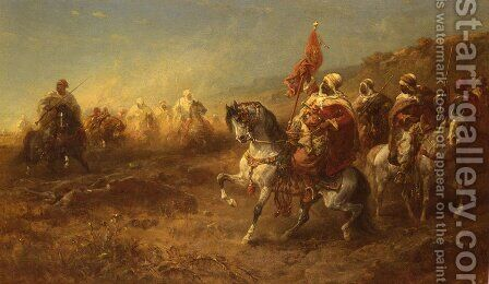 The Ambush by Adolf Schreyer - Reproduction Oil Painting
