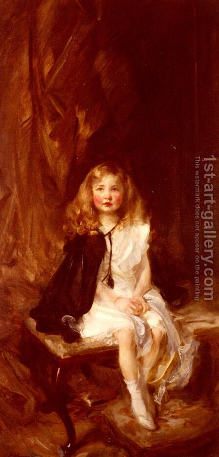 Bridget, Daughter of Harold Nickols, Esq. by James Jebusa Shannon - Reproduction Oil Painting