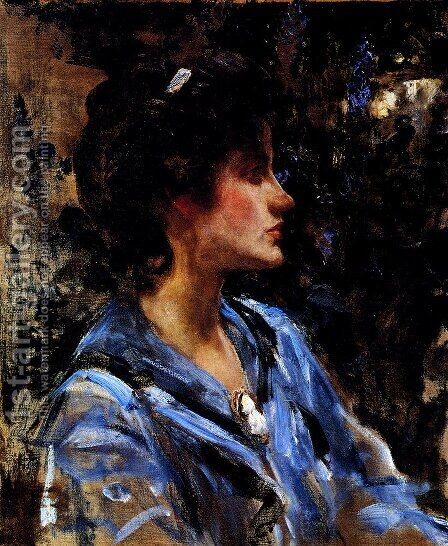 Young Woman In Blue -- Miss H. Strom by James Jebusa Shannon - Reproduction Oil Painting