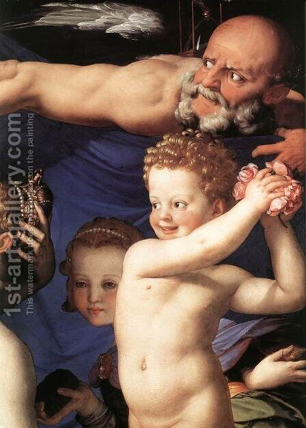 Venus, Cupide and the Time [detail] (or Allegory of Lust) by Agnolo Bronzino - Reproduction Oil Painting