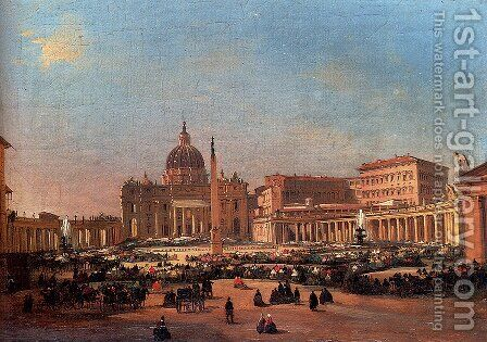 St. Peter's and the Vatican Palace, Rome by Ippolito Caffi - Reproduction Oil Painting