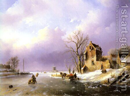 Winter Landscape with Figures on a Frozen River by Jan Jacob Coenraad Spohler - Reproduction Oil Painting