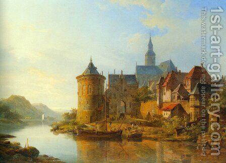 A View of a Town along the Rhine by Cornelis Springer - Reproduction Oil Painting