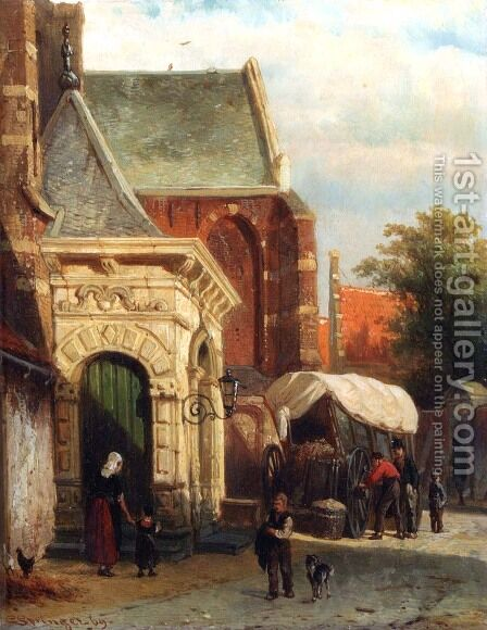 A View Of The South Entrance Of The St. Pancras Church, Enkhuizen by Cornelis Springer - Reproduction Oil Painting