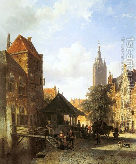 Figures In A Street In Delft by Cornelis Springer - Reproduction Oil Painting
