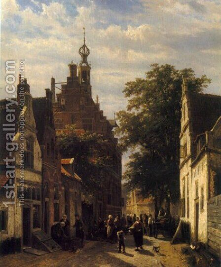 Figures in a Street in Delft (or Street Scene) by Cornelis Springer - Reproduction Oil Painting
