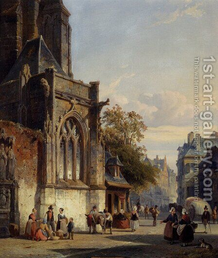 Town Square Before A Church: A Capriccio by Cornelis Springer - Reproduction Oil Painting