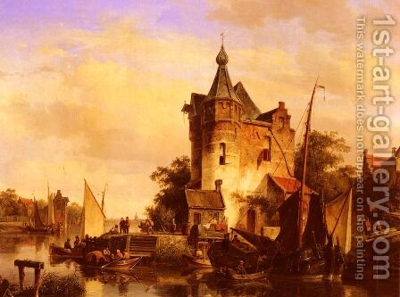 Along The Canal by Cornelis Springer - Reproduction Oil Painting