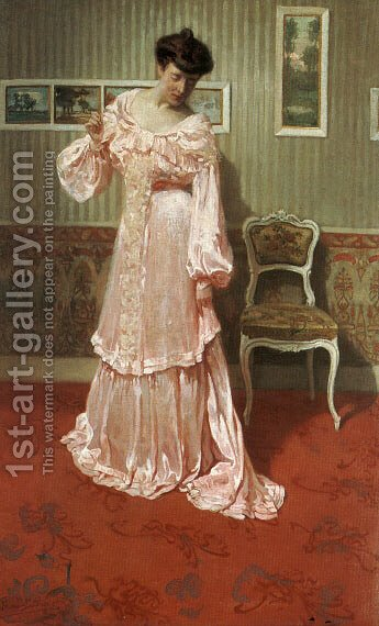 A Lady in a Pink Dress by Aime Stevens - Reproduction Oil Painting