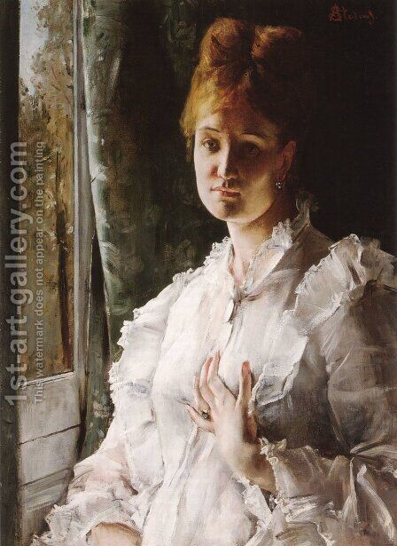 Portrait of a Woman in White by Alfred Stevens - Reproduction Oil Painting