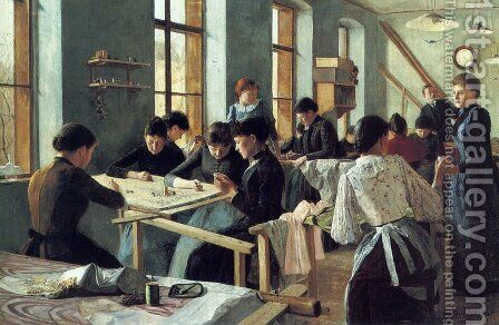 Ladies embroidering in a workshop by Heinrich Strehblow - Reproduction Oil Painting