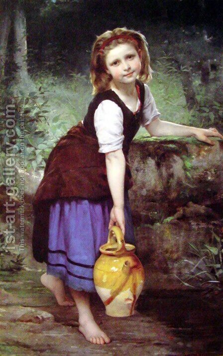 At the Spring (or The Pitcher Girl) by Charles Victor Thirion - Reproduction Oil Painting