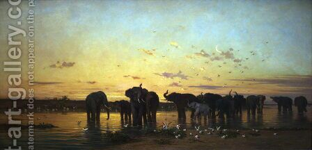 African Elephants by Charles de Tournemine - Reproduction Oil Painting