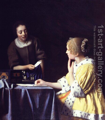 Lady with Her Maidservant Holding a Letter by Jan Vermeer Van Delft - Reproduction Oil Painting