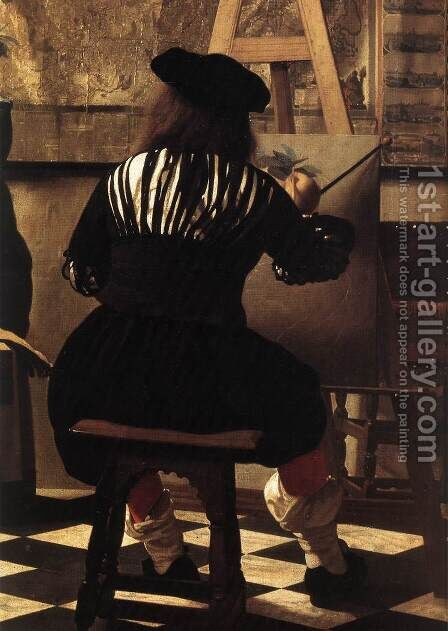 The Art of Painting [detail: 3] by Jan Vermeer Van Delft - Reproduction Oil Painting