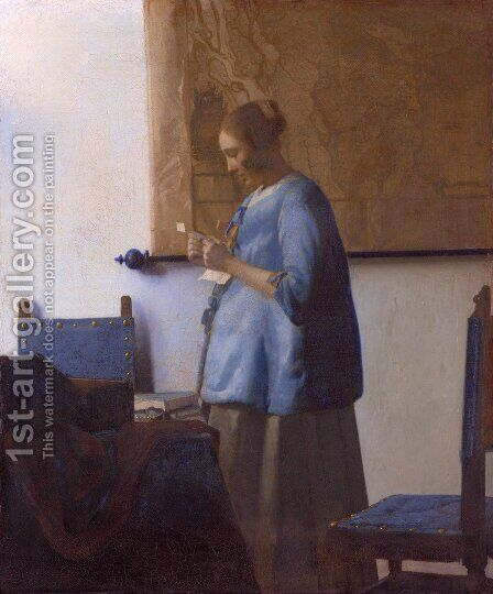 Woman Reading a Letter by Jan Vermeer Van Delft - Reproduction Oil Painting