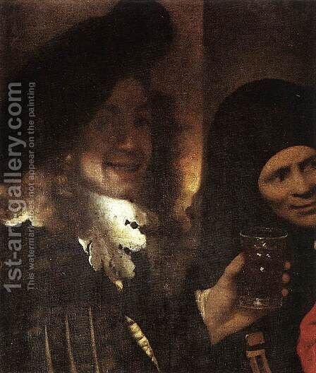 The Procuress [detail: 2] by Jan Vermeer Van Delft - Reproduction Oil Painting