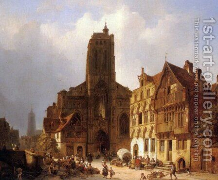 The market square in Brunswick by Ambrose Vermerrsch - Reproduction Oil Painting
