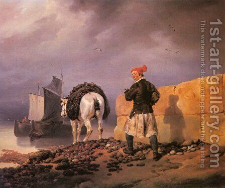 A Fisherman Setting Out by Horace Vernet - Reproduction Oil Painting