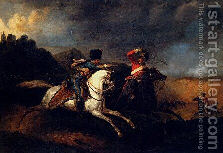 Two Soldiers On Horseback by Horace Vernet - Reproduction Oil Painting