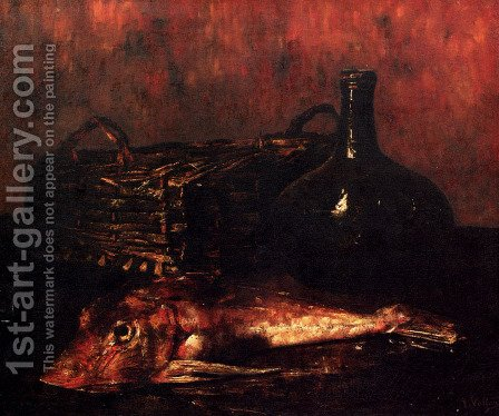 A Still Life With A Fish, A Bottle And A Wicker Basket by Antoine Vollon - Reproduction Oil Painting
