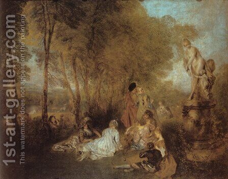 La Fête d'amour (The Festival of Love) by Jean-Antoine Watteau - Reproduction Oil Painting