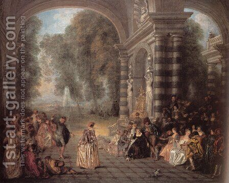 Les Plaisirs du bal (Pleasures of the Ball) by Jean-Antoine Watteau - Reproduction Oil Painting