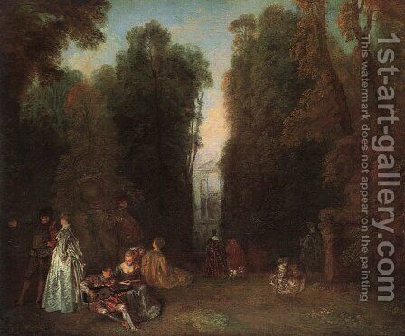 View Through the Trees in the Park of Pierre Crozat (or La Perspective) by Jean-Antoine Watteau - Reproduction Oil Painting