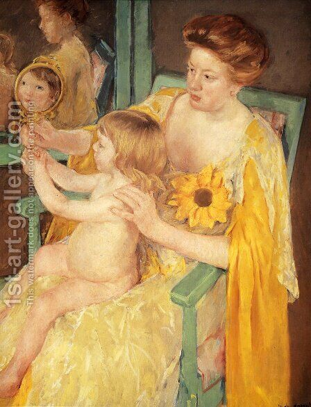 Mother Wearing A Sunflower On Her Dress by Mary Cassatt - Reproduction Oil Painting