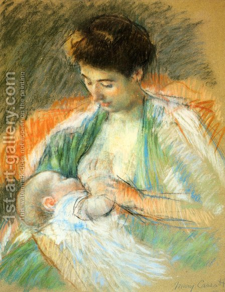 Mother Rose Nursing Her Child by Mary Cassatt - Reproduction Oil Painting