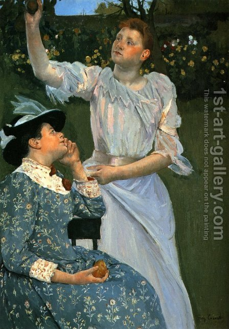 Young Women Picking Fruit by Mary Cassatt - Reproduction Oil Painting