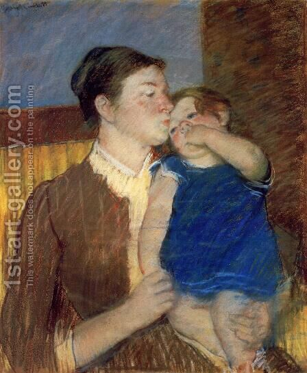 Mother's Goodnight Kiss by Mary Cassatt - Reproduction Oil Painting