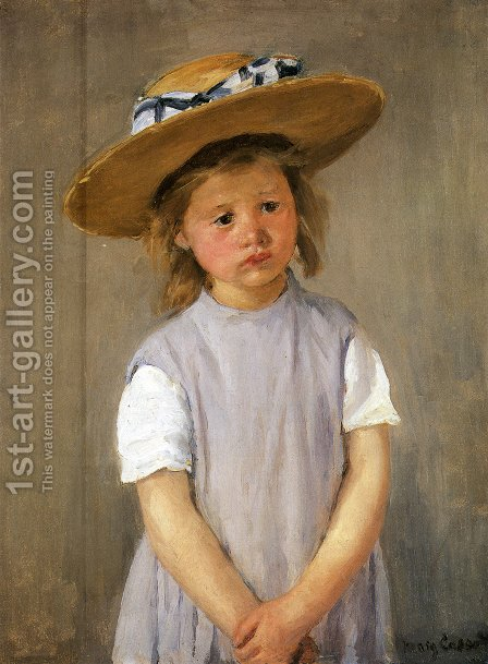 Child In A Straw Hat by Mary Cassatt - Reproduction Oil Painting