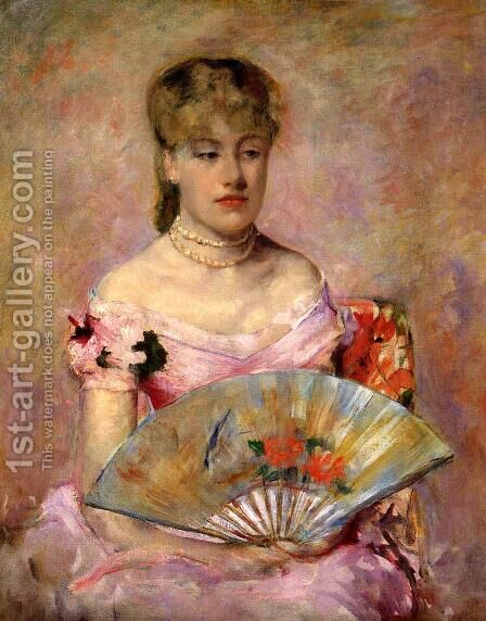Lady with a Fan (or Portrait of Anne Charlotte Gaillard) by Mary Cassatt - Reproduction Oil Painting