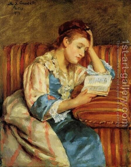 Mrs. Duffee Seated on a Striped Sofa, Reading by Mary Cassatt - Reproduction Oil Painting