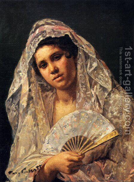 Spanish Dancer Wearing A Lace Mantilla by Mary Cassatt - Reproduction Oil Painting