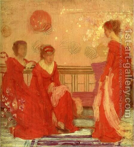 Harmony in Flesh Colour and Red by James Abbott McNeill Whistler - Reproduction Oil Painting