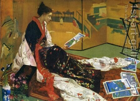 Caprice in Purple and Gold: The Golden Screen by James Abbott McNeill Whistler - Reproduction Oil Painting