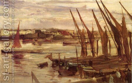 Battersea Reach by James Abbott McNeill Whistler - Reproduction Oil Painting