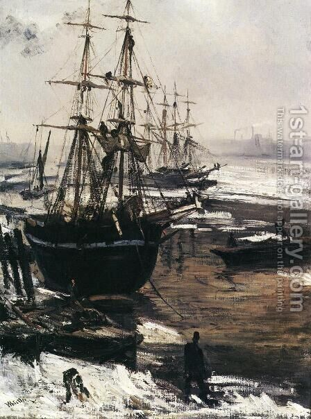 The Thames in Ice by James Abbott McNeill Whistler - Reproduction Oil Painting