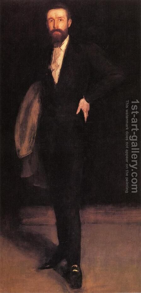 Arrangement in Black: Portrait of F.R. Leyland by James Abbott McNeill Whistler - Reproduction Oil Painting
