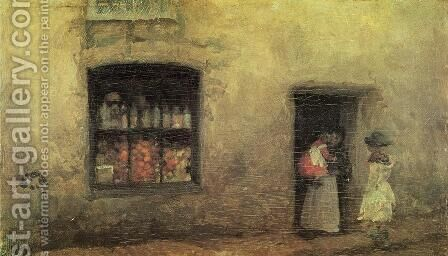 An Orange note : the Sweet-shop by James Abbott McNeill Whistler - Reproduction Oil Painting