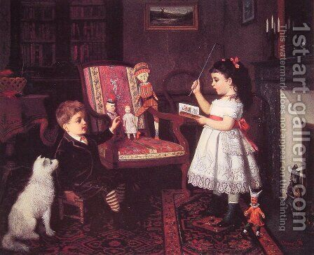 The Lesson by James Wells Champney - Reproduction Oil Painting