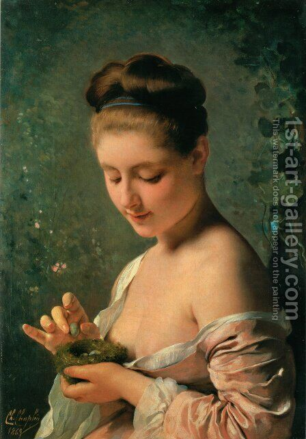 La ragazza col nido (Girl with a Nest) by Charles Chaplin - Reproduction Oil Painting
