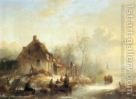 Picnic on a Frozen Lake by Alexander Joseph Wittevronghel - Reproduction Oil Painting