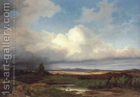 Isarlandschaft Bei Gewitter by Albert Zimmerman - Reproduction Oil Painting