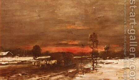 A Winter Landscape at Sunset by Mihaly Munkacsy - Reproduction Oil Painting